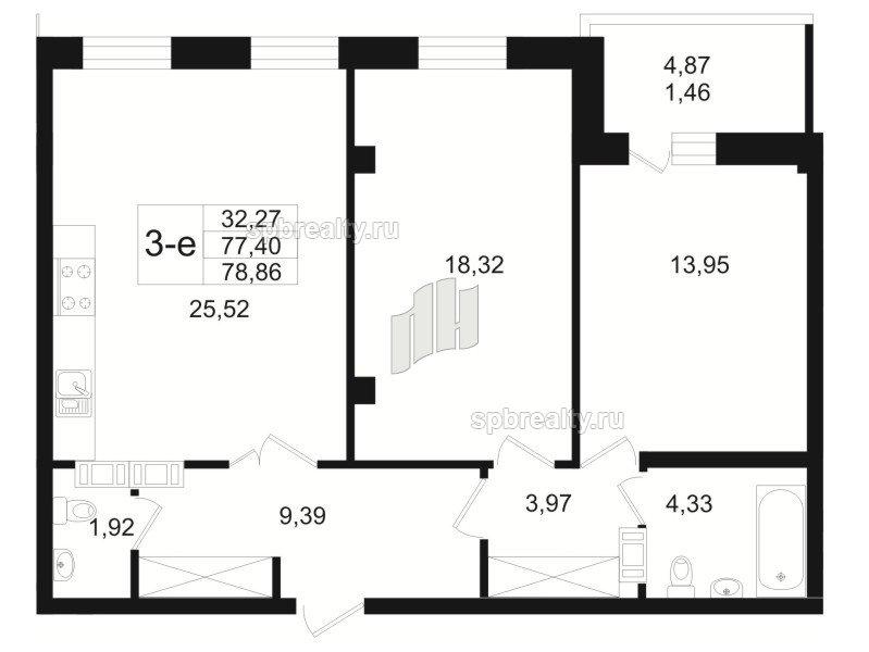 Планировка Двухкомнатная квартира площадью 80.1 кв.м в ЖК «Резиденс(The Residence)»