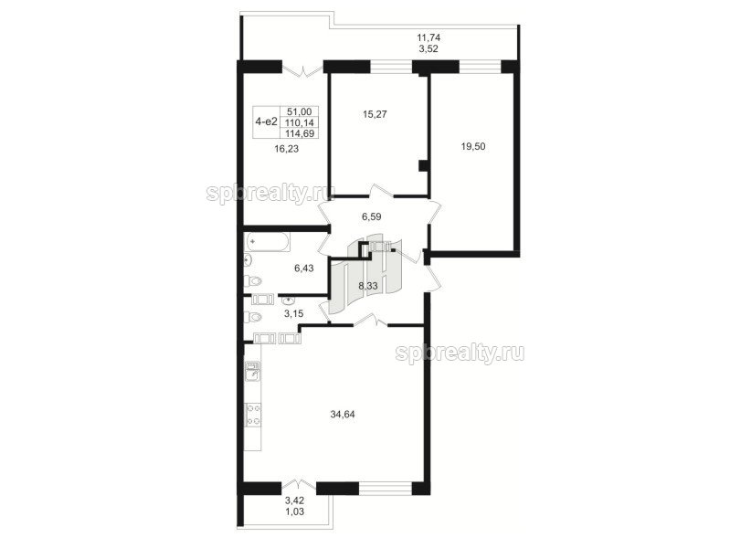 Планировка Трёхкомнатная квартира площадью 110.3 кв.м в ЖК «Резиденс(The Residence)»