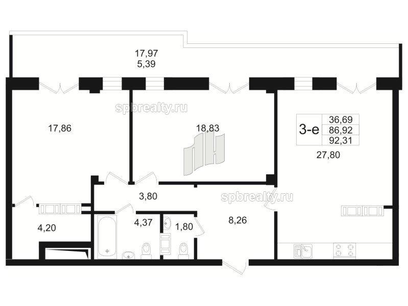 Планировка Двухкомнатная квартира площадью 87.6 кв.м в ЖК «Резиденс(The Residence)»